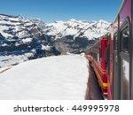 Train Through Snowy Swiss Alps...