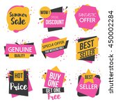 Collection of Sale Discount Styled origami Banners, Labels, Tags, Emblems. Vector | Shutterstock vector #450002284