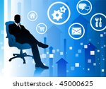 businessman on blue arrow... | Shutterstock .eps vector #45000625