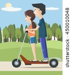 girl and boy on electric... | Shutterstock .eps vector #450010048