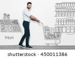 man shopping. handsome young...   Shutterstock . vector #450011386