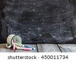 empty school chalkboard and... | Shutterstock . vector #450011734