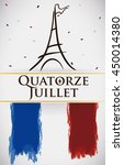 postcard with france flag and... | Shutterstock .eps vector #450014380