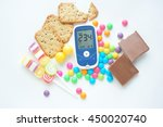 glucose meter with unhealthy... | Shutterstock . vector #450020740