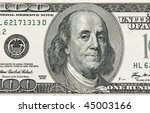 Detail of Ben Franklin on the 100 dollar bill - stock photo