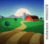 red farm barn  night... | Shutterstock .eps vector #450032278
