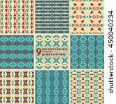 set of 9 seamless retro...   Shutterstock .eps vector #450040234