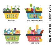 set full basket with different... | Shutterstock .eps vector #450045043
