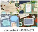 vector set of office workplace... | Shutterstock .eps vector #450054874
