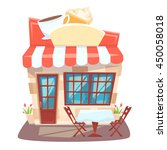 cafe shop front. street local... | Shutterstock .eps vector #450058018