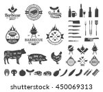 barbecue logo and labels. bbq ... | Shutterstock .eps vector #450069313