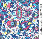 seamless hand drawn colorful... | Shutterstock . vector #450076174