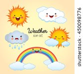 weather icon set. sunny  cloudy ... | Shutterstock .eps vector #450098776