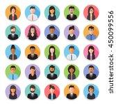 set of diverse working people ... | Shutterstock .eps vector #450099556