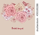 bridal bouquet. pink roses... | Shutterstock .eps vector #450100288