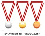 gold  silver and bronze medals. ... | Shutterstock .eps vector #450103354