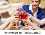 friends drinking wine on the... | Shutterstock . vector #450105880