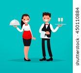 waiter and waitress restaurant. ... | Shutterstock .eps vector #450110884