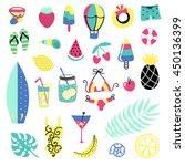 summer vector elements... | Shutterstock .eps vector #450136399