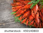 boiled crayfish with dill. | Shutterstock . vector #450140803