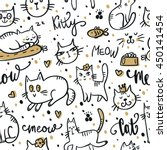 seamless pattern with cute cat. ... | Shutterstock .eps vector #450141454
