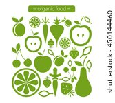 organic food icons. green set....   Shutterstock .eps vector #450144460