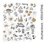 set of doodle princess and... | Shutterstock .eps vector #450147046