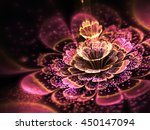 Pink Fractal Flower With Golde...