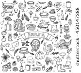 hand drawn doodle thanksgiving... | Shutterstock .eps vector #450147388