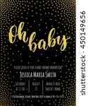 oh baby. gold baby shower... | Shutterstock .eps vector #450149656