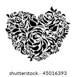 Heart and roses for St. Valentine's day or wedding celebration. Isolated vector graphic. - stock vector