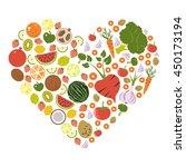 heart shape fruit and vegetable ... | Shutterstock .eps vector #450173194