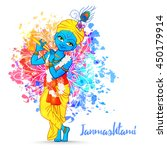 ornament card with lord shri... | Shutterstock .eps vector #450179914