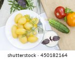 boiled potatoes with dill and...   Shutterstock . vector #450182164