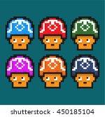 8 bit cute mushrooms game asset