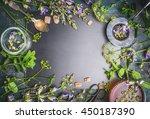 herbal tea ingredients with... | Shutterstock . vector #450187390