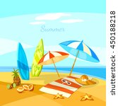 summer beach cartoon towel... | Shutterstock .eps vector #450188218
