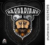 beard man face with horned... | Shutterstock .eps vector #450194398