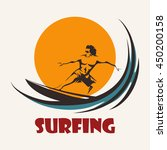 surfer rides on a long board.... | Shutterstock . vector #450200158