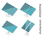 blue solar panels set. flat... | Shutterstock .eps vector #450205936