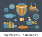 set of objects steampunk.... | Shutterstock .eps vector #450206434