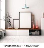 mockup poster in the interior.... | Shutterstock . vector #450207004
