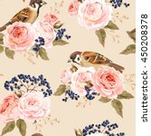 seamless roses and birds | Shutterstock .eps vector #450208378
