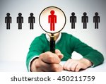 hr manager with magnifier... | Shutterstock . vector #450211759