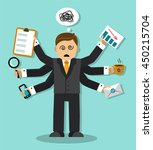 tired businessman who has a lot ... | Shutterstock . vector #450215704