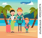 happy family on travel by... | Shutterstock .eps vector #450224974