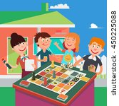 happy family playing board game.... | Shutterstock .eps vector #450225088