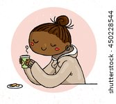 cute doodle girl with cup of... | Shutterstock .eps vector #450228544