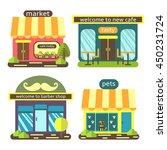 cute flat style street shops... | Shutterstock .eps vector #450231724