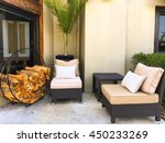 porch sofa and wood fire... | Shutterstock . vector #450233269